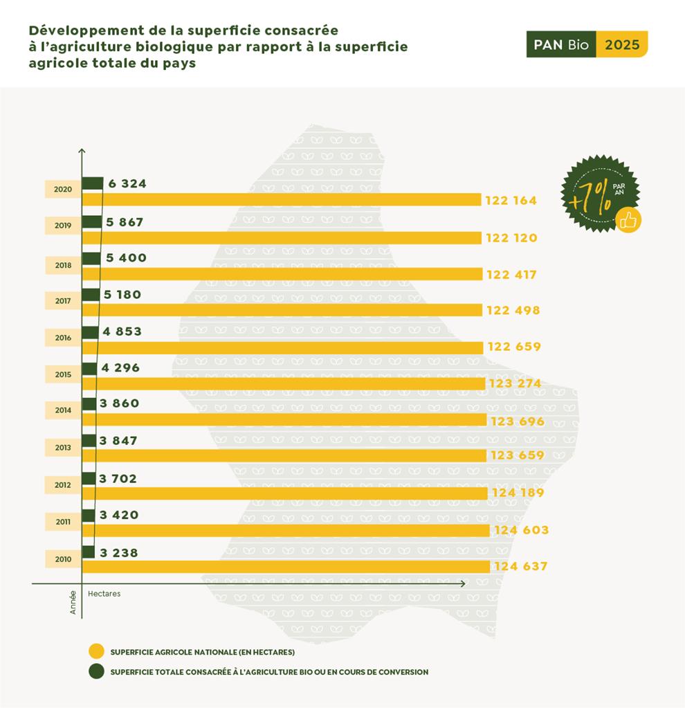 Le développement de la superficie consacrée à l'agriculture biologique au Luxembourg.